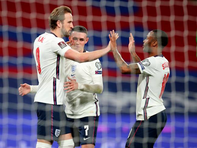 Kane celebrates with Foden and Sterling after his opener. Image: PA Images