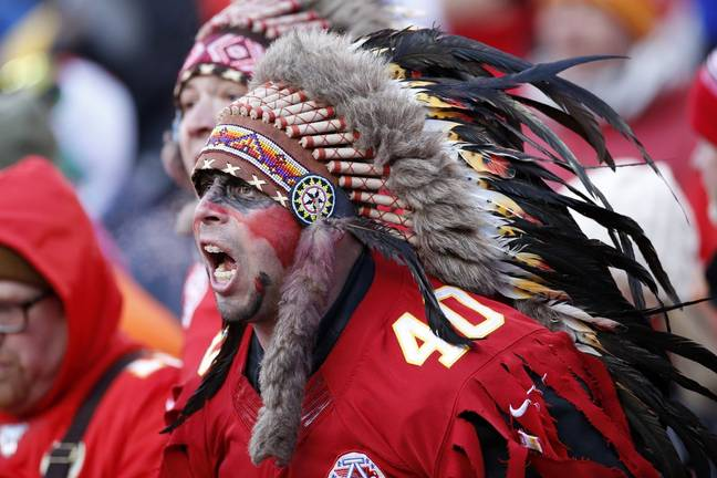 A Chiefs fans wearing a traditional Native-American headdress. Credit: Twitter