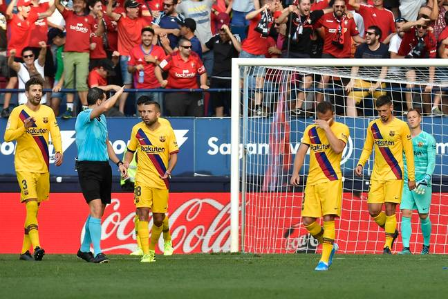 Barcelona players after conceding against Real Betis. Image: PA Images