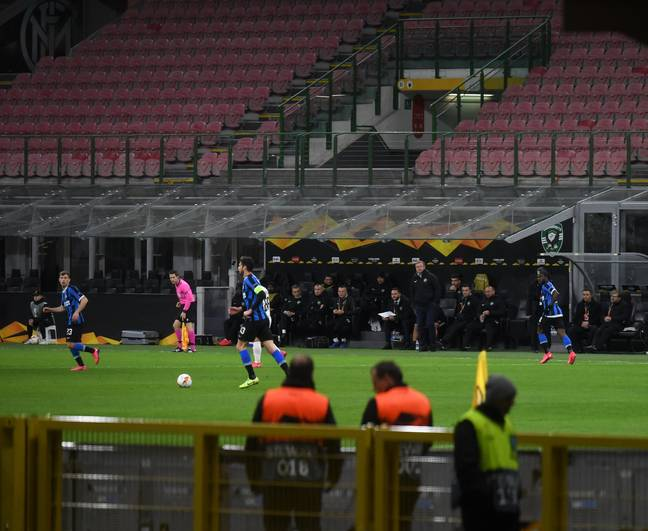 Inter's game at the San Siro on Thursday night was behind closed doors. (Image Credit: PA)