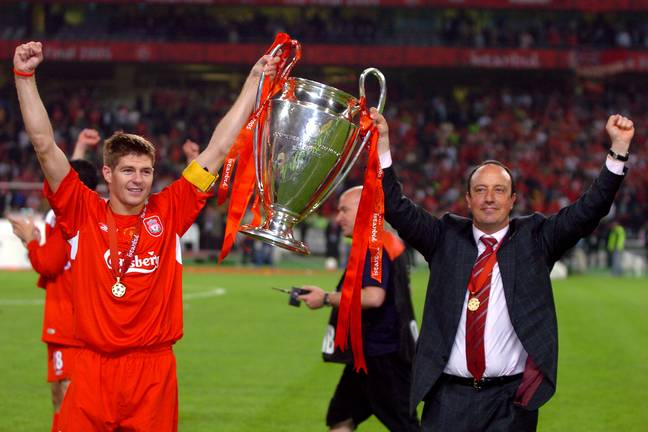 Benitez and Steven Gerrard with the Champions League trophy after their famous night in Istanbul back in 2005. Image: PA Images