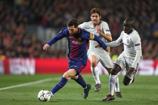 Kante tracking Messi. Image: PA