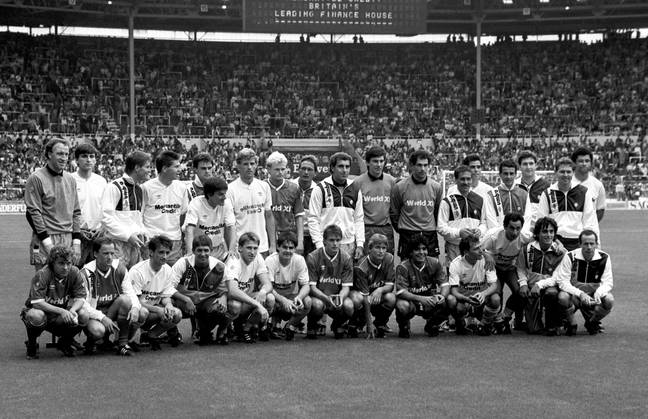 The two sides pose ahead of the Football League Centenary Match at Wembley Stadium. Maradona is pictured in the bottom row towards the right. Credit: PA