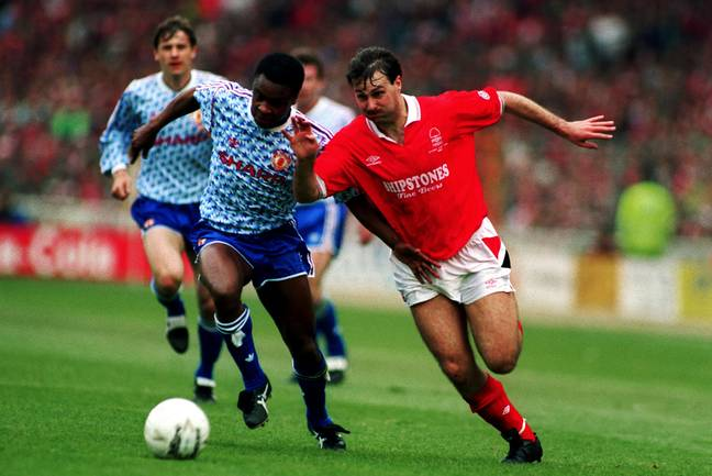 Paul Parker battles with Nottingham Forest's Brett Williams in 1992. (Image Credit: PA)