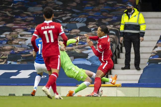 Pickford somehow avoided punishment for his challenge. Image: PA Images