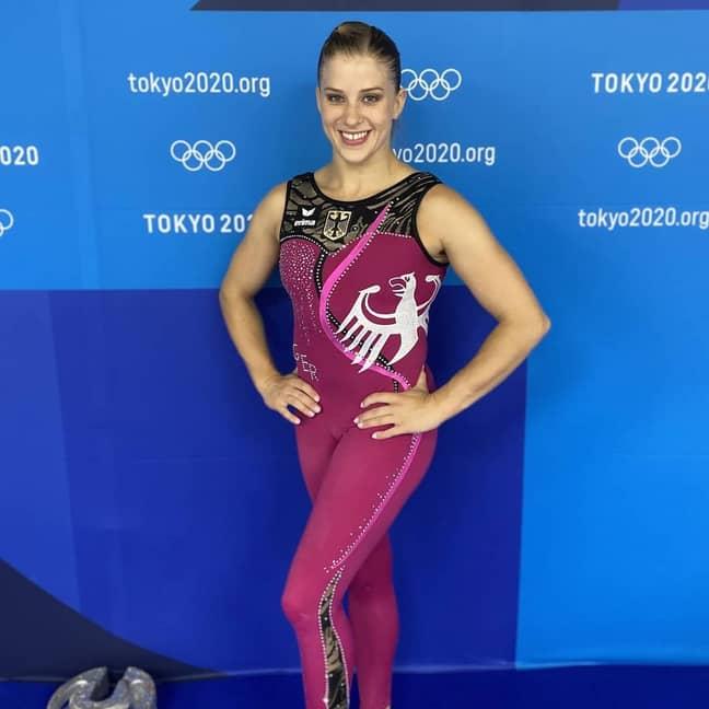 Elisabeth Seitz in the new Olympics unitards. Credit: Instagram/@seitzeli