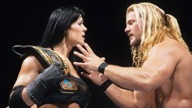 Arguing with Chris Jericho over the IC title. Image: WWE