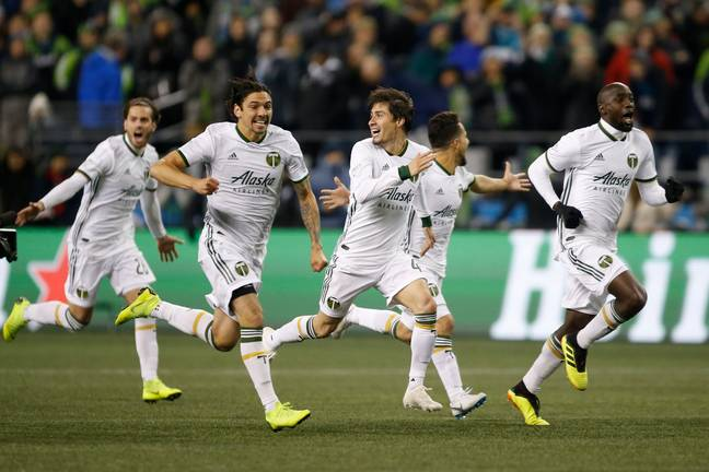 Portland Timbers celebrate their penalty shootout victory (Credit:PA)