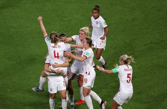 England women celebrate scoring against Norway. Image: PA Images