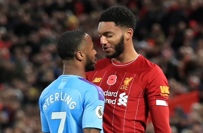 Sterling and Gomez clash back in November. Image: PA Images