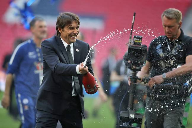 Conte's last match in charge at Chelsea was the FA Cup final win over Manchester United. Image: PA Images