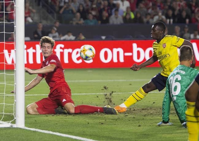 Nketiah scores the winning goal. Image: PA Images