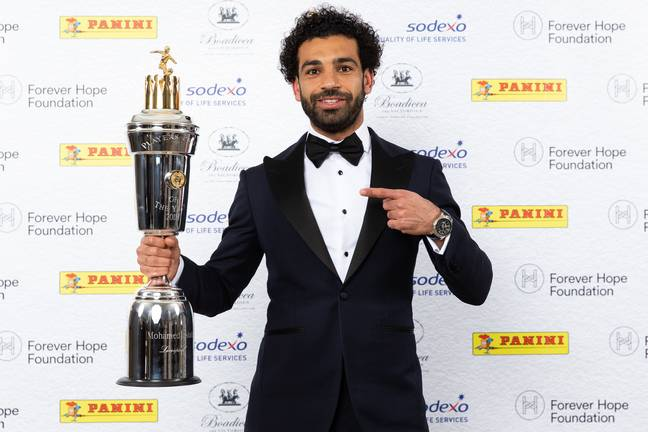 Salah with his Player of the Year award. Image: PA Images