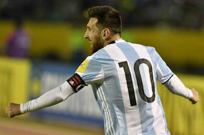 Messi celebrates scoring for Argentina. Image: PA