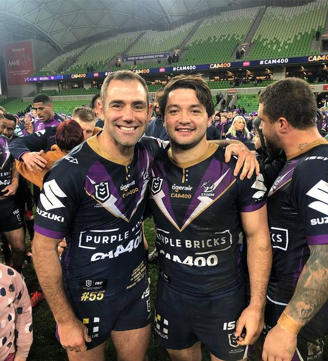 Brandon Smith with Melbourne Storm captain Cameron Smith. Credit: Instagram