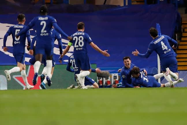 Chelsea players celebrate Mason Mount's goal vs Real. Image: PA Images