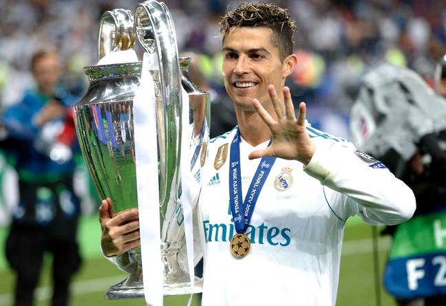 Ronaldo celebrates winning the Champions League title. Image: PA