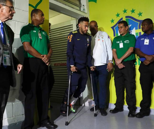 Neymar on crutches after his most recent injury. Image: PA Images