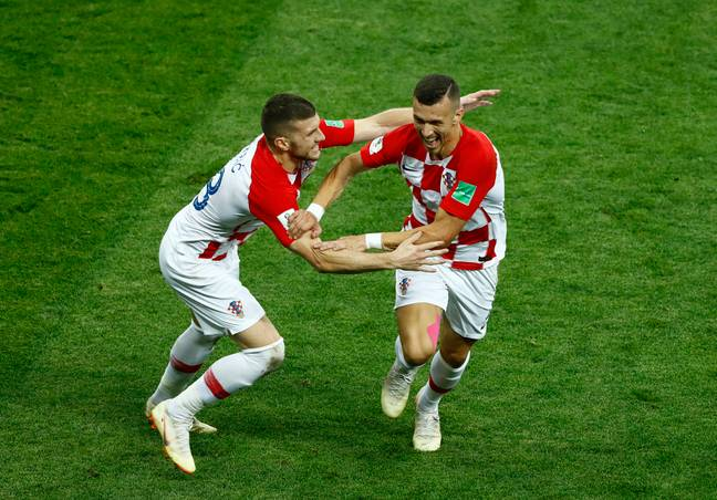 Perisic and Rebic celebrate Croatia equalising in the World Cup final. Image: PA Images