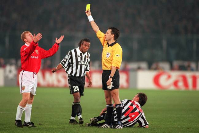 Scholes' yellow card against Juventus kept him out of the 1999 Champions League final. Image: PA Images