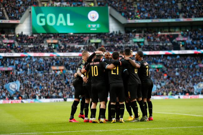 City players celebrate Aguero's opener. Image: PA Images