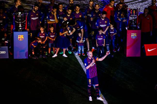 Iniesta says goodbye to the fans and the club. Image: PA Images