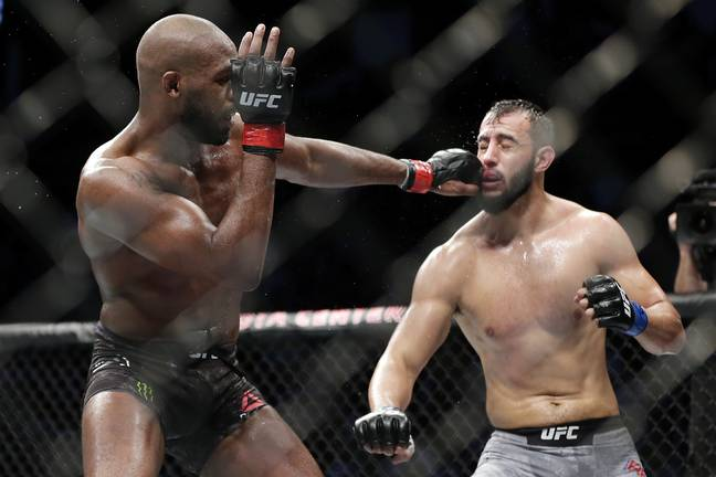 Jon Jones in action against Dominick Reyes during his last fight in February. (Image Credit: PA)