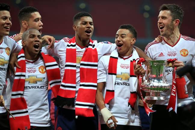 PA: Jesse Lingard celebrates winning the FA Cup.