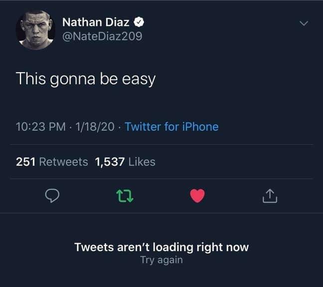 Nate Diaz's deleted tweet from last night.