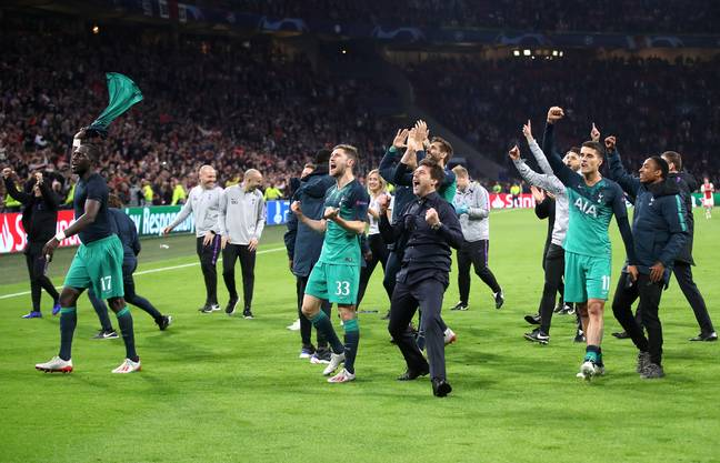 Pochettino celebrates after beating Ajax in the Champions League semi final, his greatest night for Spurs. Image: PA Images