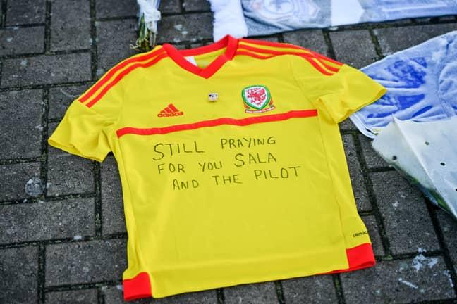 A tribute to Sala and Ibbotson outside Cardiff City Football Club. Credit: PA