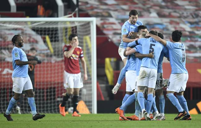 City celebrate their second goal. Image: PA Images