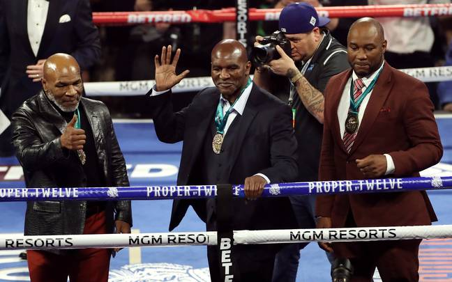 Tyson, Holyfield and Lennox Lewis in the ring ahead of Wilder vs Fury II. Image: PA Images