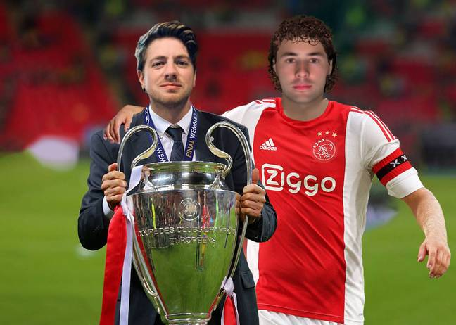Bruno and his manager lift the Champions League trophy after he scored the winner to cement himself into the history books.