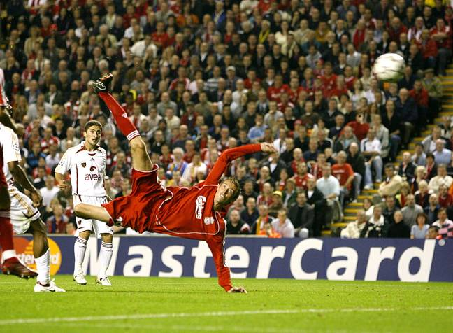 Peter Crouch scored a stunning overhead kick against Galatasaray in the Champions League