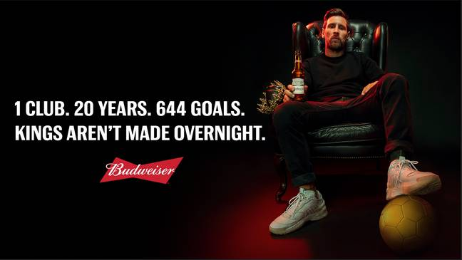 No man has scored more for a single club than Lionel Messi. Image: Budweiser