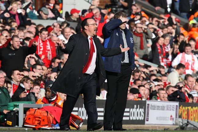 Benitez managing against Everton. Image: PA Images