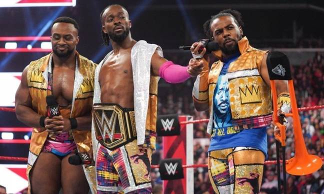 Big E with New Day stablemates Kofi Kingston (C) and Xavier Woods (R). (Image Credit: WWE)