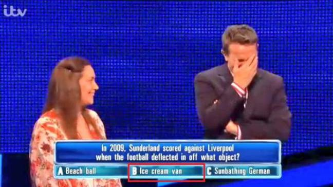 The iconic moment a Chase contestant thought the ball hit an ice-cream van. Image: ITV