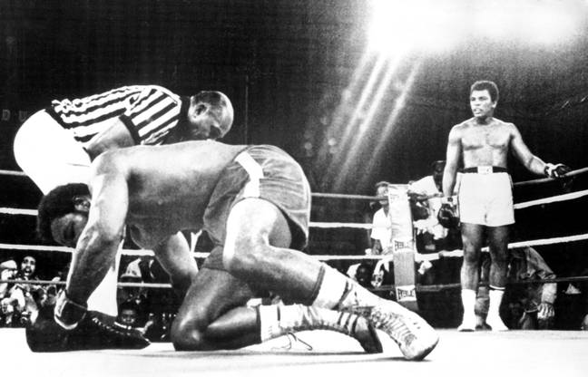 Ali after knocking down Foreman. Image: PA Images