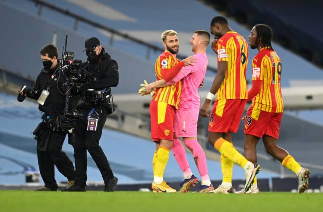 West Brom players celebrate their draw with City. Image: PA Images