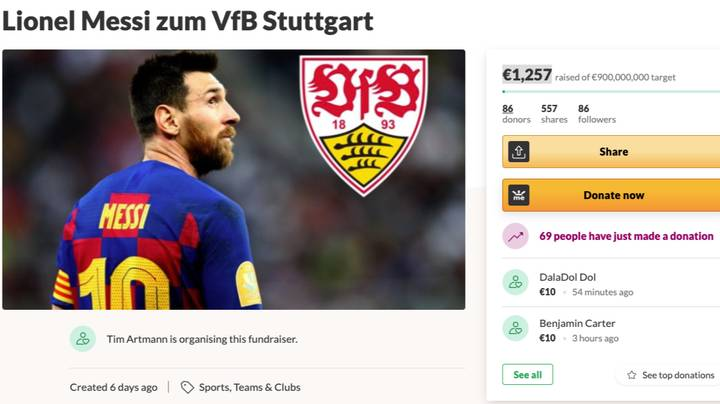 German Football Fan Sets Up GoFundMe Page To Raise $1.5billion So His Club Can Sign Lionel Messi