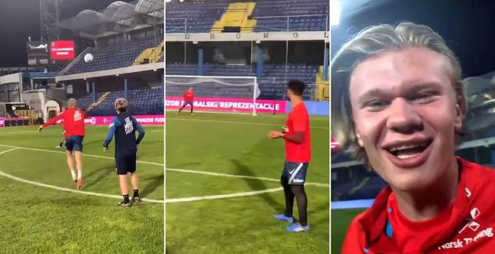 Erling Haaland Shooting Practice Footage For Norway Is Absolutely Terrifying