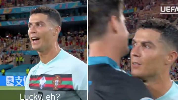 Cristiano Ronaldo Told Thibaut Courtois Belgium Were 'Lucky' At Full-Time Of Euro 2020 Fixture