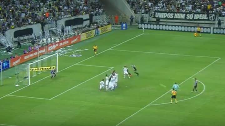Brazilian Goalkeeper Everson Curls In Belting Free-Kick Against Corinthians