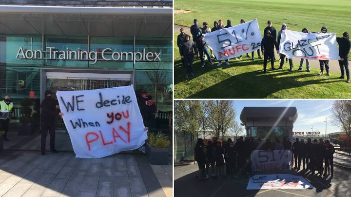 Manchester United Fans Protesting Against The Glazers Have Blocked Training Ground Entrances