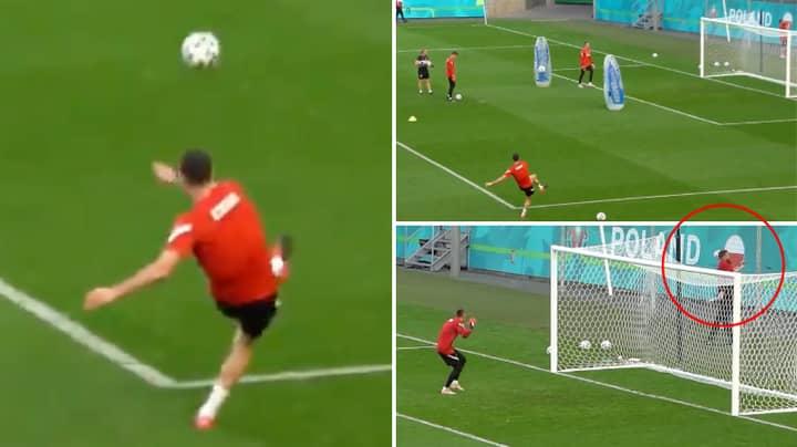 Robert Lewandowski Smashes Fan's Phone With Incredible Pinpoint Shot On Training Ground