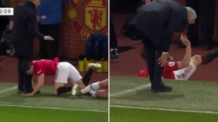 Daniel James Clatters Into Jose Mourinho, He Limps Off Into The Technical Area