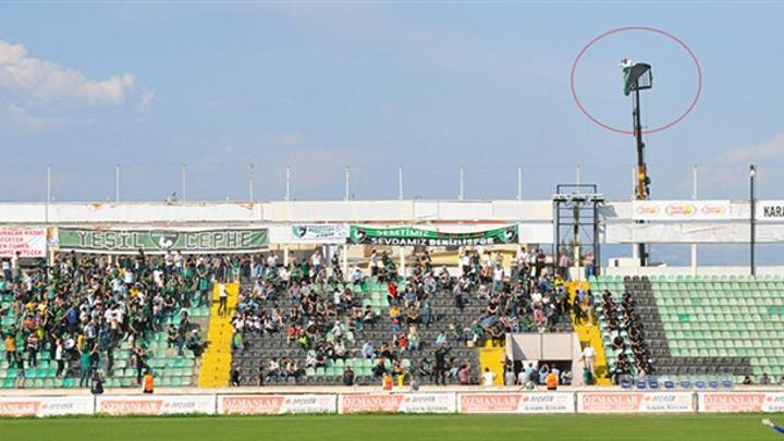 Fan In Turkey Hires Crane After He Receives A Stadium Ban