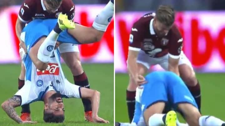 Torino's Cristian Ansaldi Softening Elseid Hysaj's Fall Saved Him From A Broken Neck